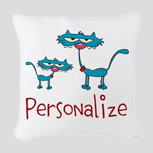 Personalizable. Blue Cats Woven Throw Pillow