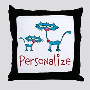 Personalizable. Blue Cats Throw Pillow
