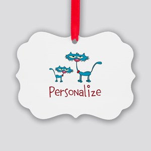 Personalizable. Blue Cats Picture Ornament