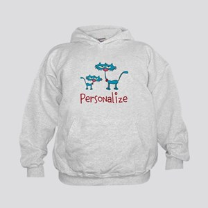Personalizable. Blue Cats Kids Hoodie