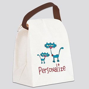 Personalizable. Blue Cats Canvas Lunch Bag