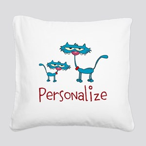 Personalizable. Blue Cats Square Canvas Pillow