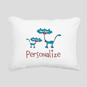 Personalizable. Blue Cat Rectangular Canvas Pillow