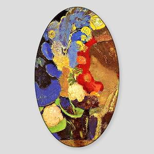Odilon Redon - Woman Among Flowers Sticker (Oval)