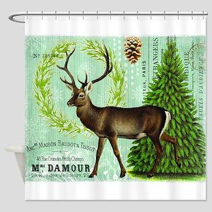 Modern Vintage Winter Woodland Deer Shower Curtain