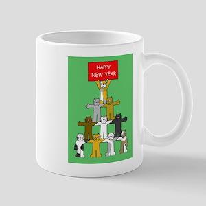 Happy New Year Cats Mugs