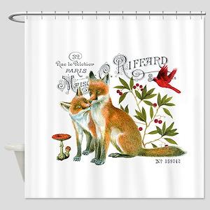 modern vintage woodland winter fox Shower Curtain