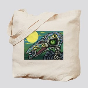 Day of the Dead Raven Candy Skull Tote Bag