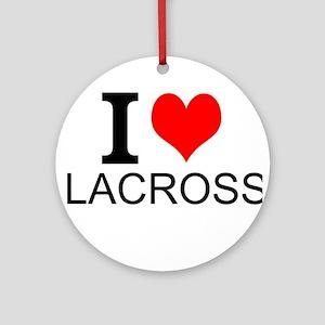I Love Lacrosse Ornament (Round)