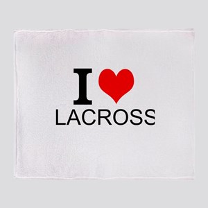 I Love Lacrosse Throw Blanket