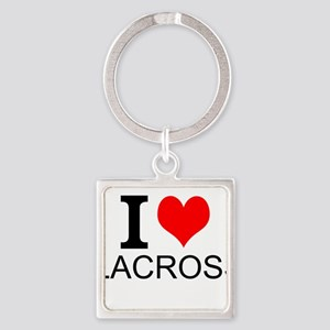 I Love Lacrosse Keychains