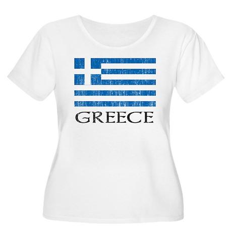 Greece Flag Women's Plus Size Scoop Neck T-Shirt