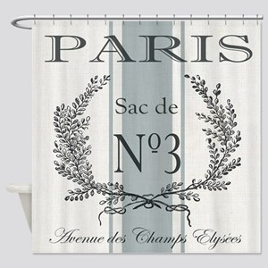 Vintage French Paris grain sac Shower Curtain