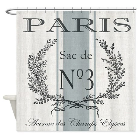Vintage French Paris Grain Sac Shower Curtain By DesignsbyHeatherMyers1
