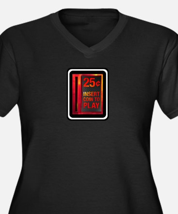 INSERT COIN TO PLAY Women's Plus Size V-Neck Dark