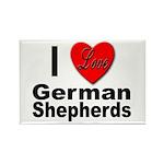 I Love German Shepherds Rectangle Magnet (10 pack)