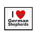 I Love German Shepherds Framed Panel Print