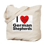 I Love German Shepherds Tote Bag