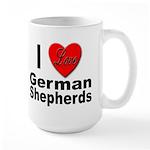 I Love German Shepherds Large Mug