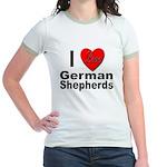 I Love German Shepherds (Front) Jr. Ringer T-Shirt