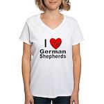 I Love German Shepherds (Front) Women's V-Neck T-S