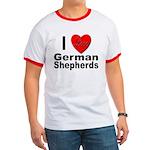 I Love German Shepherds Ringer T