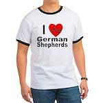 I Love German Shepherds (Front) Ringer T