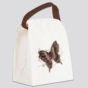 Pink butterfly and music Canvas Lunch Bag