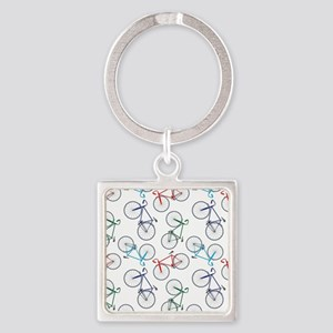 Bicycles Pattern Square Keychain