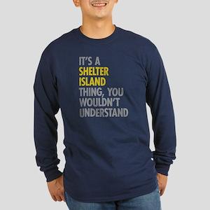 Its A Shelter Island Thin Long Sleeve Dark T-Shirt