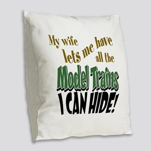 Model Railroads Burlap Throw Pillow