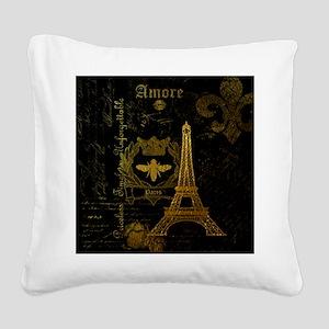 La Tour Effiel Square Canvas Pillow