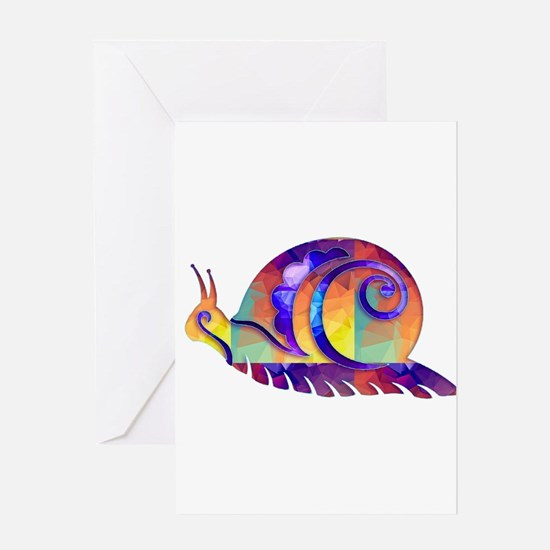Polygon Mosaic Snail Multicolored Greeting Cards