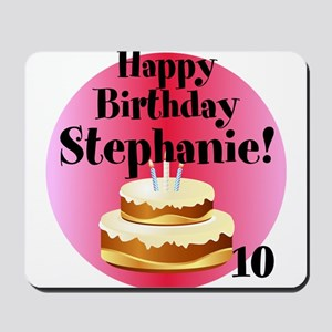 Personalized Name/Age Birthday Cake Pink Mousepad