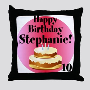 Personalized Name/Age Birthday Cake Pink Throw Pil