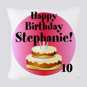 Personalized Name/Age Birthday Cake Pink Woven Thr