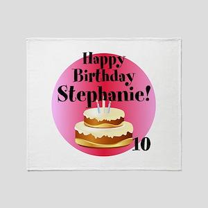 Personalized Name/Age Birthday Cake Pink Throw Bla