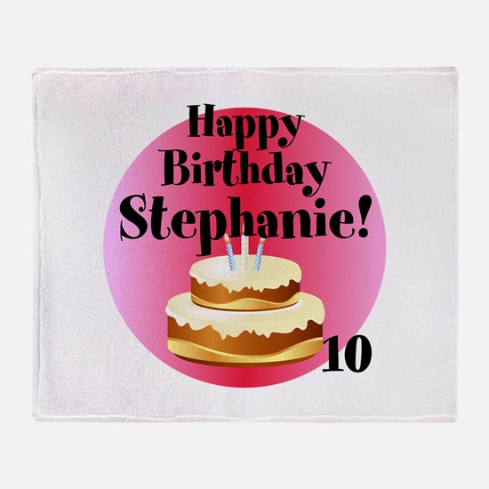 Personalized Name/Age Birthday Cake Pink Throw Bla