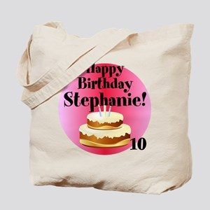 Personalized Name/Age Birthday Cake Pink Tote Bag