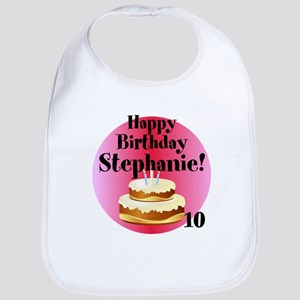 Personalized Name/Age Birthday Cake Pink Bib