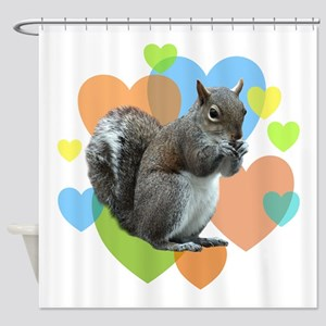 Squirrel Hearts Shower Curtain