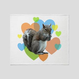 Squirrel Hearts Throw Blanket
