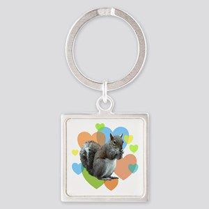 Squirrel Hearts Square Keychain