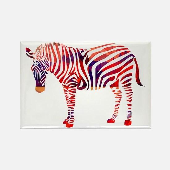 Mosaic Polygon Zebra Reds Blues Magnets