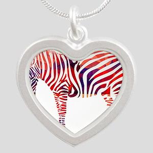 Mosaic Polygon Zebra Reds Blues Necklaces