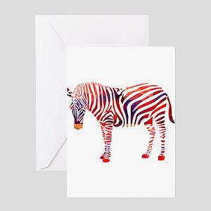 Mosaic Polygon Zebra Reds Blues Greeting Cards