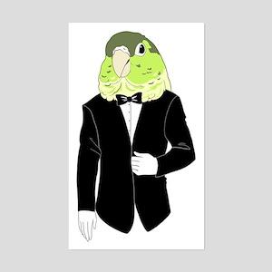 Green Cheek Conure Tuxedo Sticker (Rectangle)