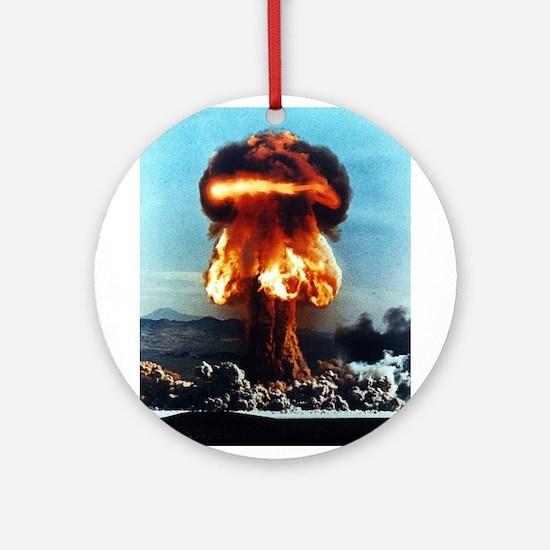 Nuclear Bomb Mushroom Cloud Ornament (Round)