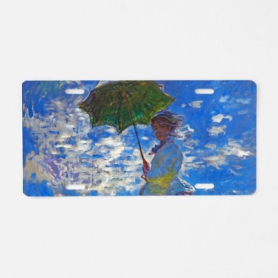 Monet - Woman with a Parasol Aluminum License Plat