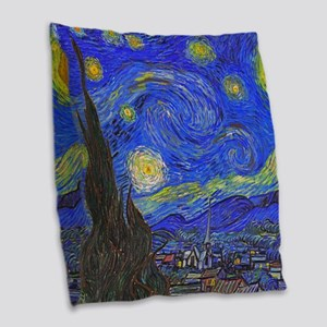 van Gogh: The Starry Night Burlap Throw Pillow